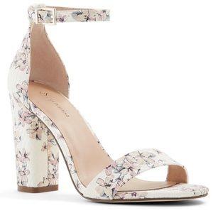 Call It Spring Vegan Floral Block Heel Sandals